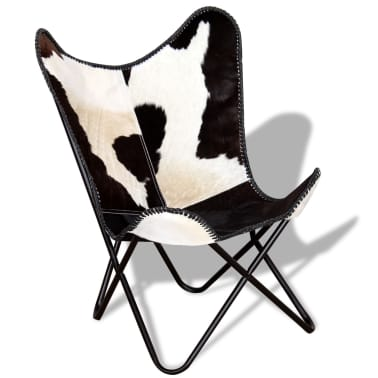 vidaXL Butterfly Chair Real Cowhide Leather Black and White[1/8]