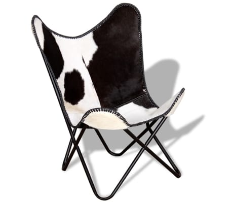 vidaXL Butterfly Chair Real Cowhide Leather Black and White[2/8]