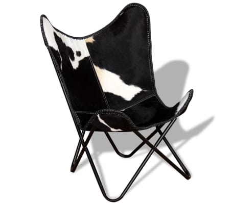 vidaXL Butterfly Chair Real Cowhide Leather Black and White[4/8]