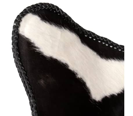 vidaXL Butterfly Chair Real Cowhide Leather Black and White[7/8]