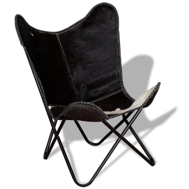 vidaXL Butterfly Chair Real Cowhide Leather Black and White[3/8]