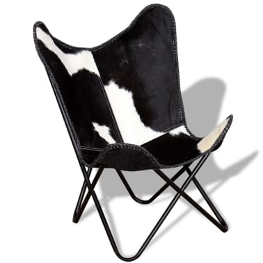 vidaXL Butterfly Chair Real Cowhide Leather Black and White[5/8]
