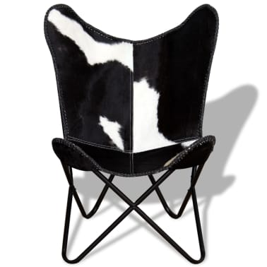 vidaXL Butterfly Chair Real Cowhide Leather Black and White[6/8]