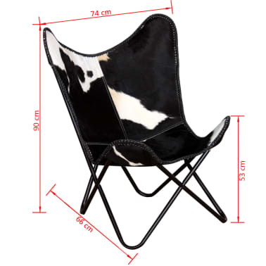 vidaXL Butterfly Chair Real Cowhide Leather Black and White[8/8]