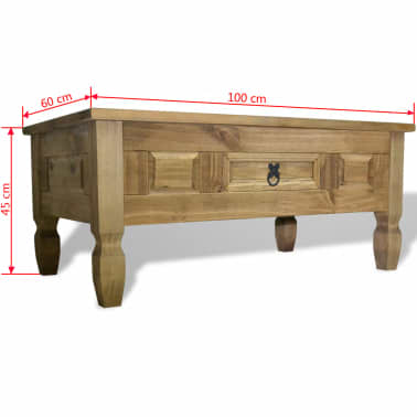 "vidaXL Coffee Table Mexican Pine Corona Range 39.4""x23.6""x17.7""[6/6]"