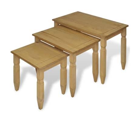 vidaXL Ensemble de table gigogne Pin mexicain 3 pcs Gamme Corona[1/4]