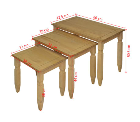 vidaXL Ensemble de table gigogne Pin mexicain 3 pcs Gamme Corona[4/4]
