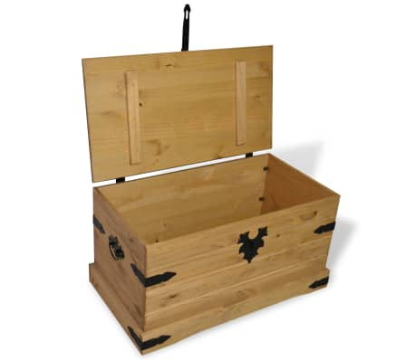 "vidaXL Storage Chest Mexican Pine Corona Range 35.8""x19.5""x18.5""[2/4]"