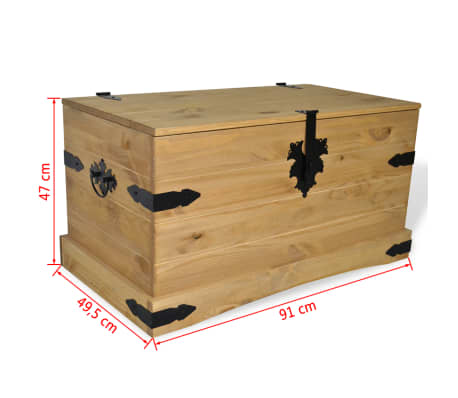 "vidaXL Storage Chest Mexican Pine Corona Range 35.8""x19.5""x18.5""[4/4]"