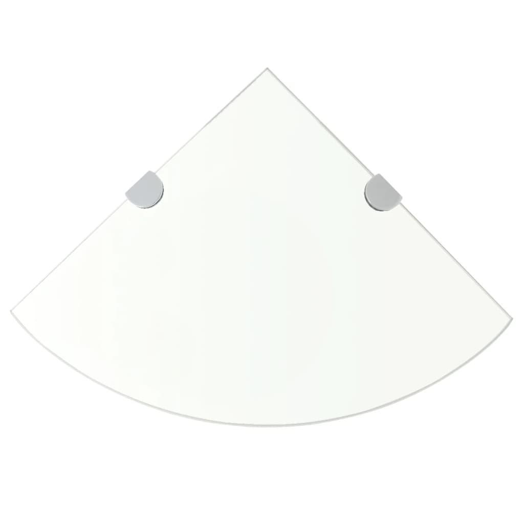 vidaXL Rohová police s chromovými podpěrami sklo čiré 25x25 cm