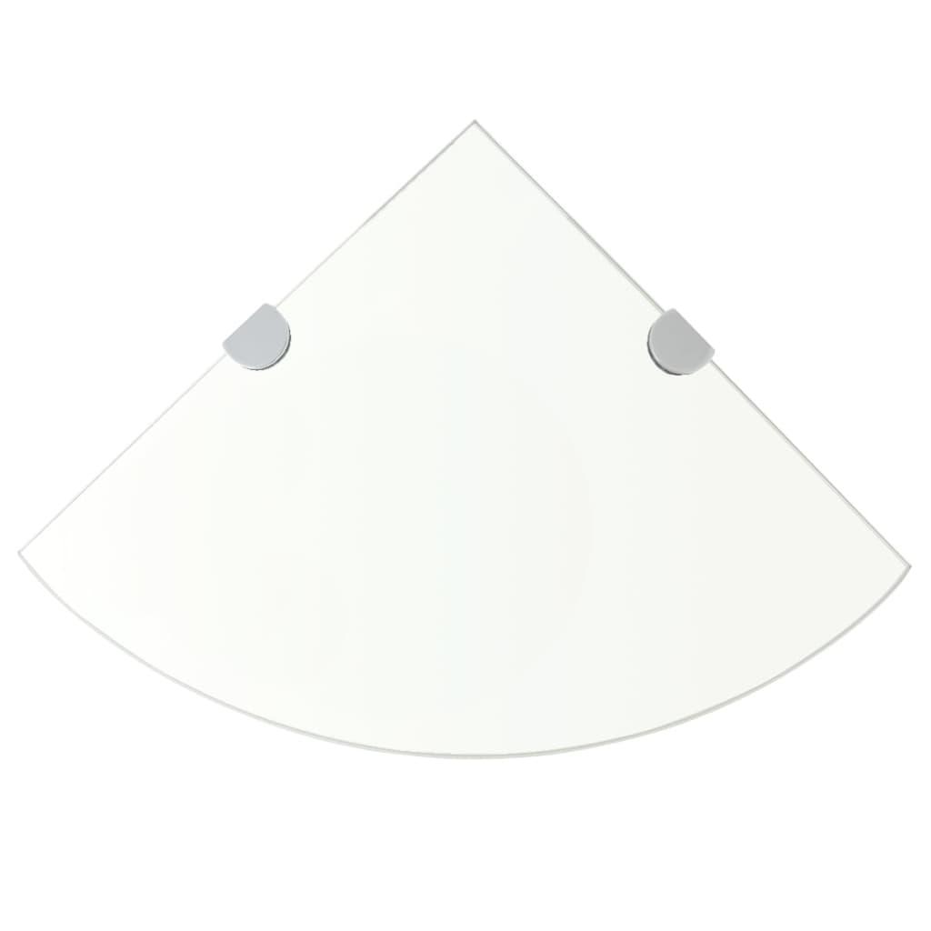 Rohová police s chromovými podpěrami sklo čiré 35x35 cm