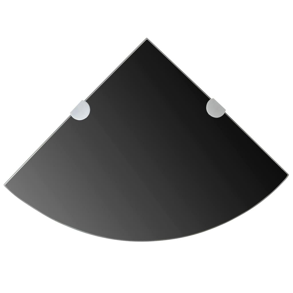 vidaXL Rohová police s chromovými podpěrami sklo černá 35x35 cm