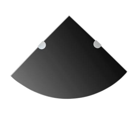 vidaXL Kampinė lentyna su chromo laikikliais, juodas stiklas 35x35 cm[1/6]