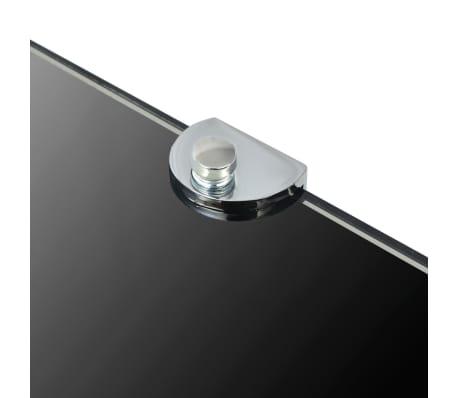 vidaXL Kampinė lentyna su chromo laikikliais, juodas stiklas 35x35 cm[5/6]