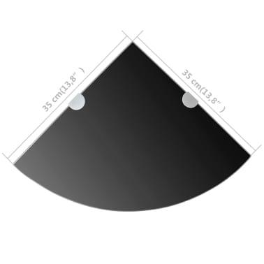 vidaXL Kampinė lentyna su chromo laikikliais, juodas stiklas 35x35 cm[6/6]
