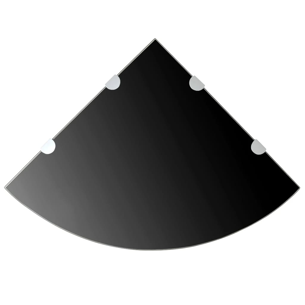 Rohová police s chromovými podpěrami sklo černé 45x45 cm
