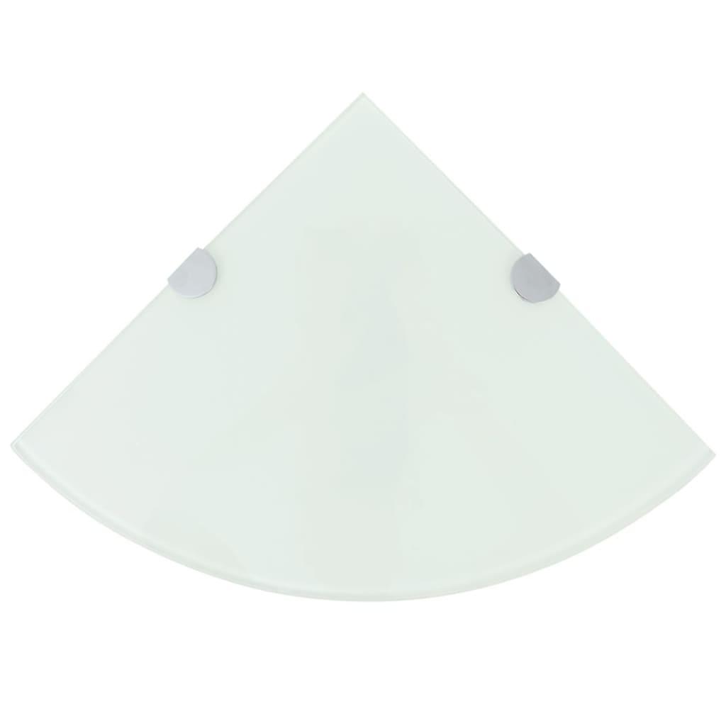 vidaXL Rohová police s chromovými podpěrami sklo bílá 25x25 cm