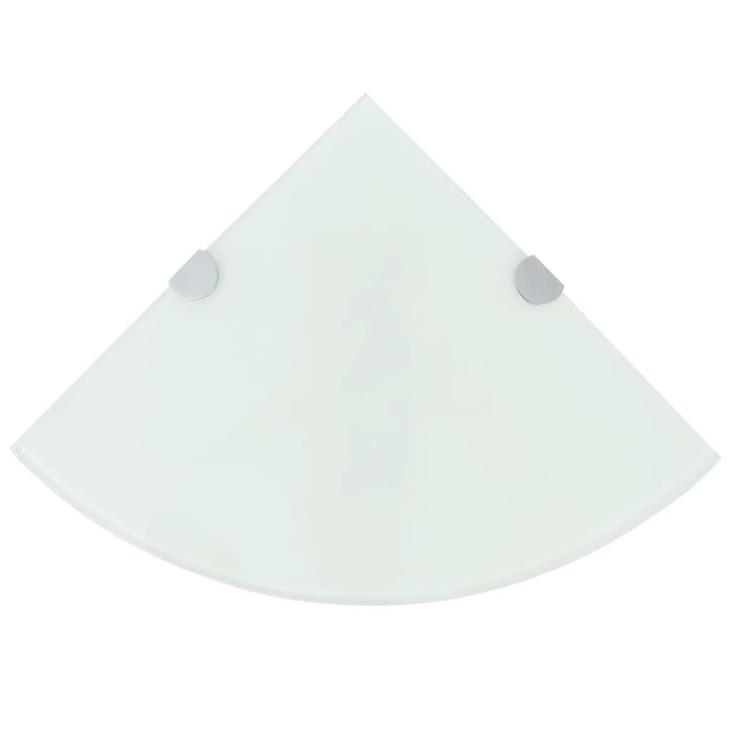 vidaXL Rohová police s chromovými podpěrami sklo bílá 35x35 cm