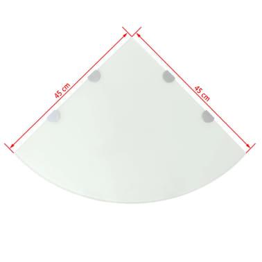 vidaXL Kampinė lentyna su chromo laikikliais, baltas stiklas 45x45 cm[5/5]