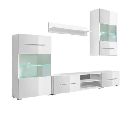 vidaXL TV-möbel med vitrinskåp och LED 5 delar vit[2/9]
