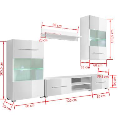 vidaXL TV-möbel med vitrinskåp och LED 5 delar vit[9/9]