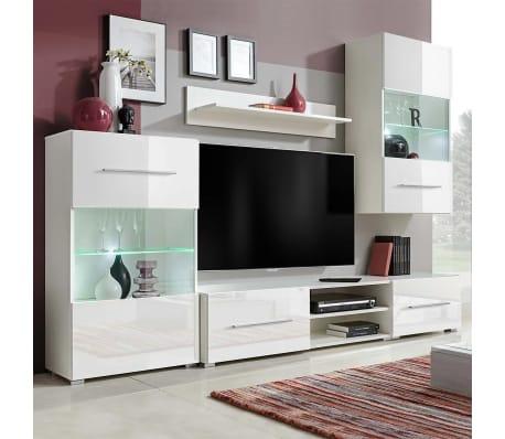 vidaxl f nfteilige wohnwand tv schrank mit led beleuchtung wei g nstig kaufen. Black Bedroom Furniture Sets. Home Design Ideas