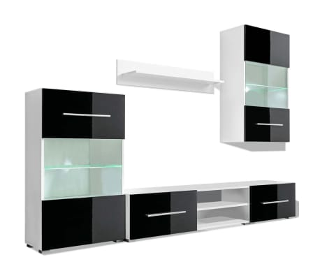 vidaXL 5-dielna obývacia/TV stena s LED osvetlením, čierna