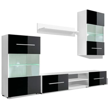 vidaXL Meuble TV mural 5 pièces avec éclairage LED Noir[2/9]