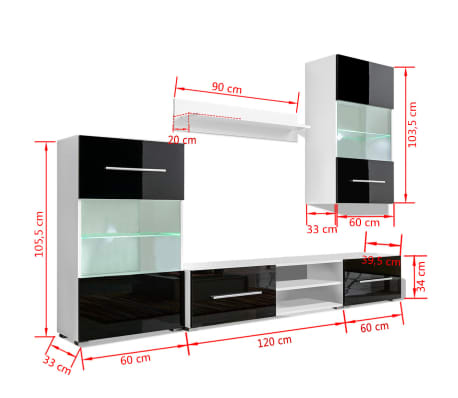 vidaXL Meuble TV mural 5 pièces avec éclairage LED Noir[9/9]