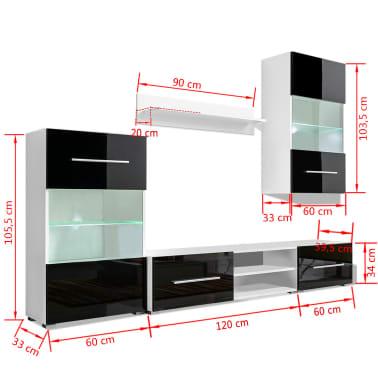 vidaXL Sieninė televizoriaus spintelė su LED apšvietimu, 5d., juoda[9/9]