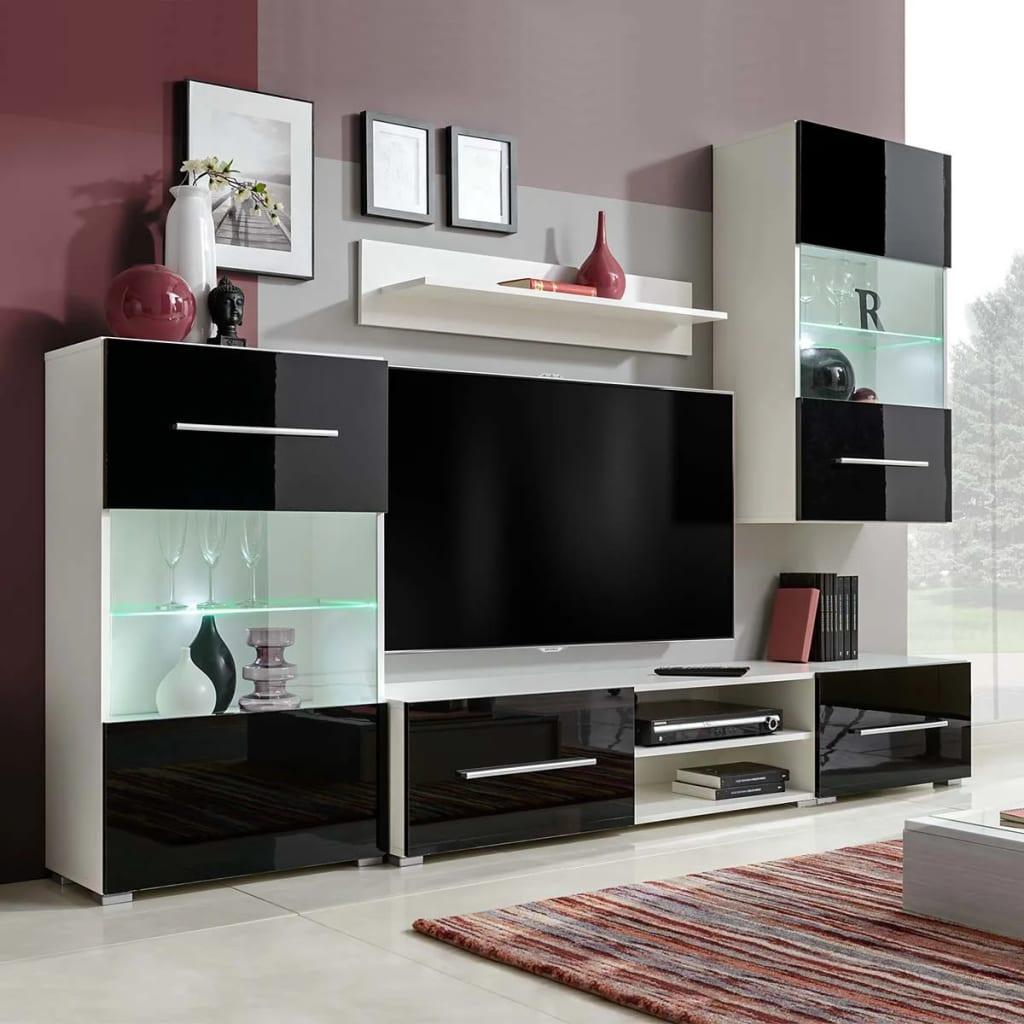 vidaXL Set mobilier comodă TV de perete, 5 piese, iluminare LED, negru vidaxl.ro