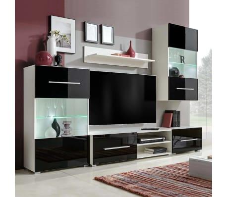 vidaXL Sieninė televizoriaus spintelė su LED apšvietimu, 5d., juoda[1/9]