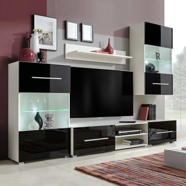 Vidaxl Funfteilige Wohnwand Tv Schrank Mit Led Beleuchtung Schwarz