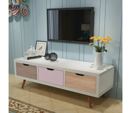 vidaxl tv schrank mit 3 schubladen 120 x 39 x 39 cm wei g nstig kaufen. Black Bedroom Furniture Sets. Home Design Ideas