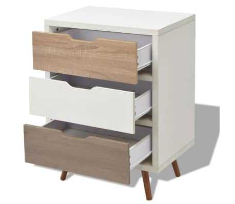 vidaxl sideboard with 3 drawers 60x39x83 cm white. Black Bedroom Furniture Sets. Home Design Ideas