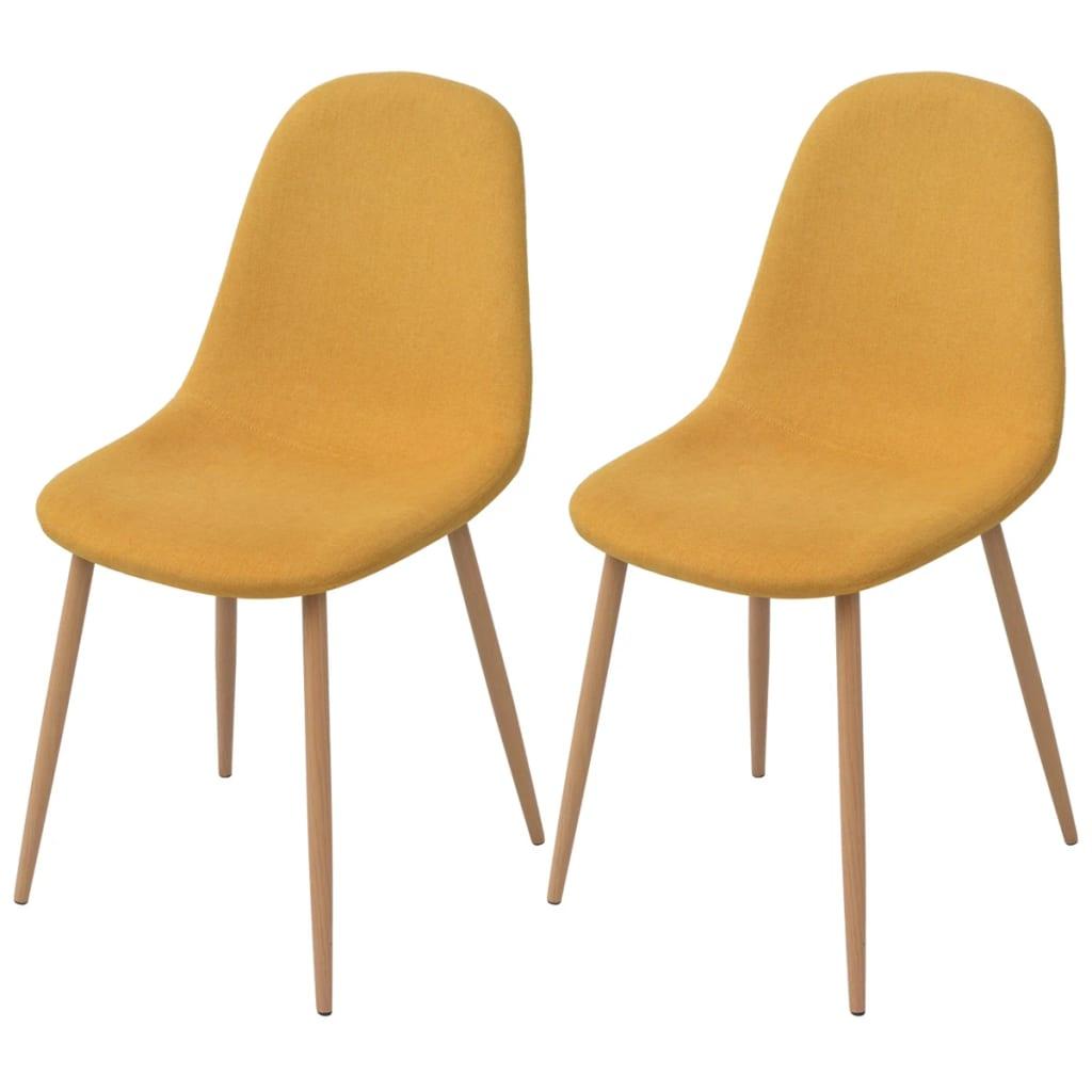 vidaXL Jídelní židle 2 ks textilní žluté