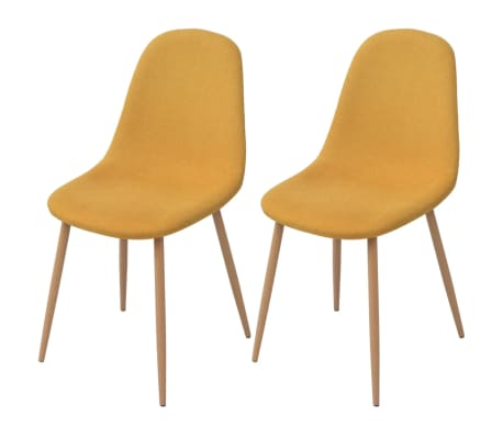 vidaXL spisebordsstole 2 stk. stof gul