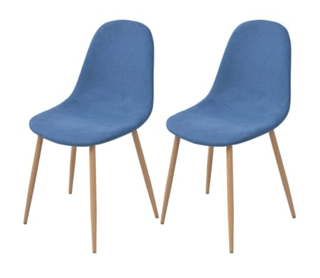 vidaXL Dining Chairs 2 pcs Fabric Blue[1/5]