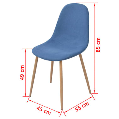 vidaXL Dining Chairs 2 pcs Fabric Blue[5/5]