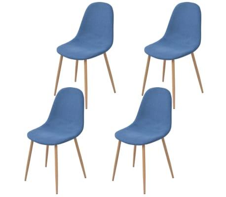 vidaXL Chaises de salle à manger 4 pcs Bleu Tissu