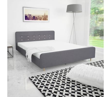 vidaxl bettgestell 160x200 cm stoffbezug hellgrau g nstig kaufen. Black Bedroom Furniture Sets. Home Design Ideas