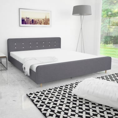 vidaxl bettgestell 180x200 cm stoffbezug hellgrau g nstig kaufen. Black Bedroom Furniture Sets. Home Design Ideas