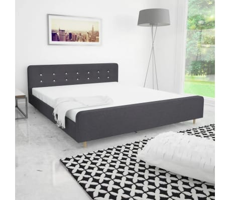 vidaxl bettgestell 180x200 cm stoffbezug dunkelgrau g nstig kaufen. Black Bedroom Furniture Sets. Home Design Ideas