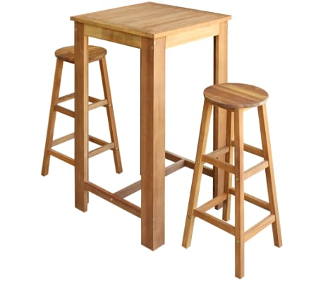 Vidaxl Bar Table And Stool Set 3 Pieces Solid Acacia Wood Vidaxl Com