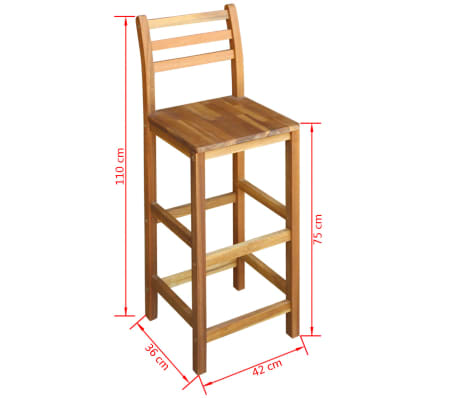 vidaXL Bar Table and Stool Set 3 Pieces Solid Acacia Wood[6/6]