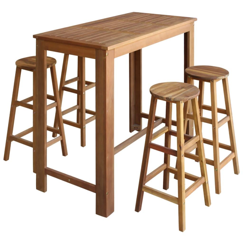 vidaXL Pětidílný set barového stolu a stoliček z masivního akáciového dřeva