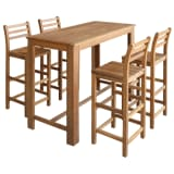 vidaXL Five Piece Bar Table and Stool Set Solid Acacia Wood