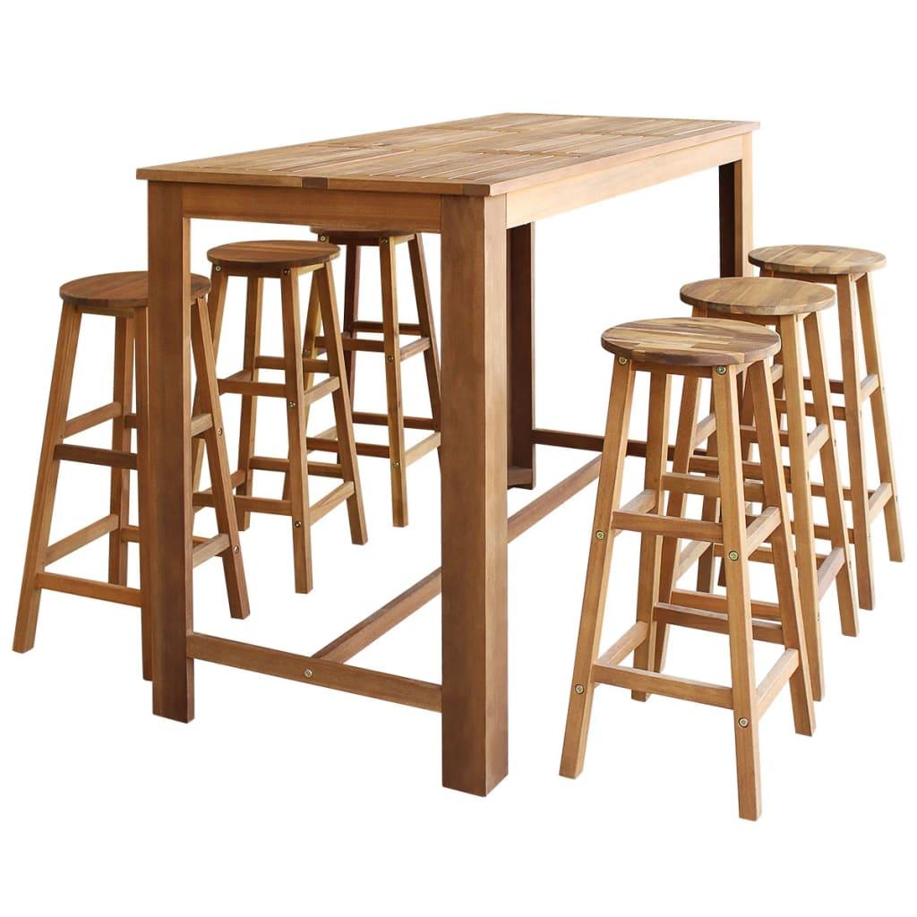 vidaXL Sedmidílný set barového stolu a stoliček z masivního akáciového dřeva