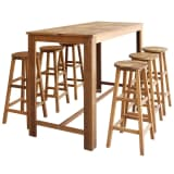 vidaXL Bar Table and Stool Set 7 Pieces Solid Acacia Wood