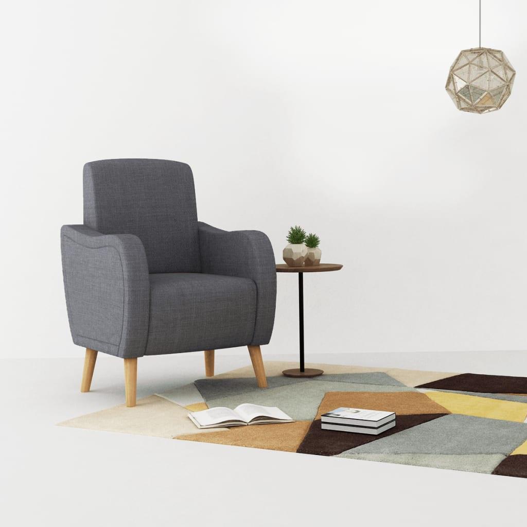 vidaXL Fotel, jasnoszary, tkanina
